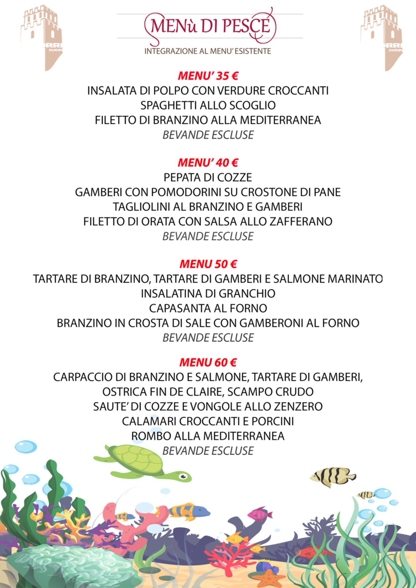 Menù Di Pesce La Torre Pizzeria Ristorante Bar